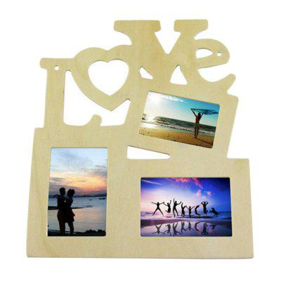 Wood Photo Frame Love Style Picture Display Stand