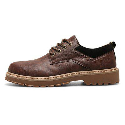 Фото - Z6 Men Retro British Style Anti-slip PUCasual Shoes surom pu lace up low casual shoes mens new breathable round toe retro shoes non slip soles height increasing male shoes