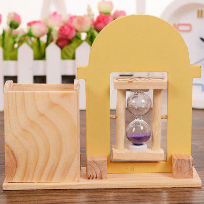 1147 Cartoon Style Wood Pen Holder with Sand Clock cartoon wood