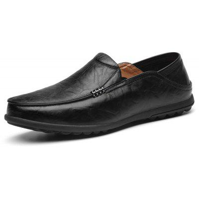 Men Leisure Breathable Dual-use Slip-On Leather Flat Shoes