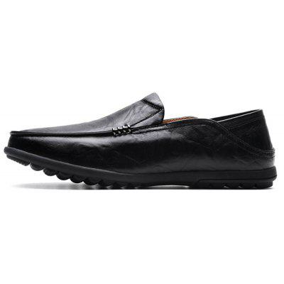 Men Leisure Breathable Dual-use Slip-On Leather Flat Shoes men s real leather british leisure shoes spring and autumn all match cowhide breathable doug loafer driving soft shoes men