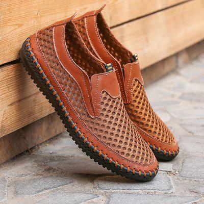 Men Casual Breathable Slip-On Leather Flat Shoes slip on men genuine leather cow autumn new arrival fashion breathable casual shoes male zapatos hombre chaussure homme plus size
