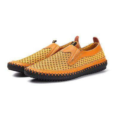Men Casual Breathable Slip-On Leather Flat Shoes dreambox in summer the han edition of the real leather breathable retro old system with low help men s casual shoe men s shoes
