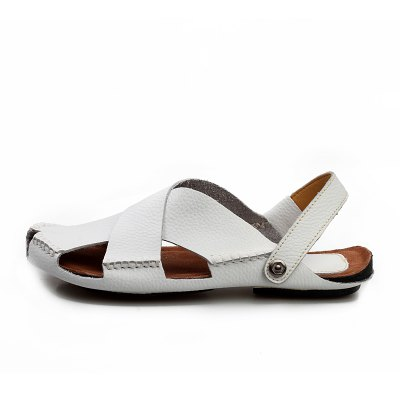 Casual Flat Sandal Slipper for MenMens Sandals<br>Casual Flat Sandal Slipper for Men<br><br>Closure Type: Slip-On<br>Contents: 1 x Pair of Sandals, 1 x Shoe Box<br>Function: Slip Resistant<br>Materials: Leather<br>Occasion: Casual, Daily<br>Outsole Material: Rubber<br>Package Size ( L x W x H ): 32.00 x 21.00 x 13.00 cm / 12.6 x 8.27 x 5.12 inches<br>Package weight: 0.8000 kg<br>Product weight: 0.6500 kg<br>Seasons: Summer<br>Style: Leisure, Casual, Comfortable<br>Toe Shape: Peep Toe<br>Type: Sandals<br>Upper Material: Leather
