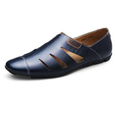 Men Stylish Hollow-out Slip-on Leather Sandals -  45  LAPIS BLUE
