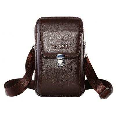 YIANG Practical Multifunctional Leather Cellphone Waist Bag -  BROWN