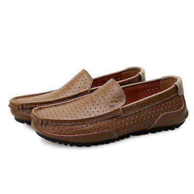 Casual Breathable Hollow-out Flat Shoes for MenFlats &amp; Loafers<br>Casual Breathable Hollow-out Flat Shoes for Men<br><br>Closure Type: Slip-On<br>Contents: 1 x Pair of Shoes, 1 x Box<br>Decoration: Hollow Out<br>Materials: Leather, Rubber<br>Occasion: Casual, Daily, Shopping<br>Outsole Material: Rubber<br>Package Size ( L x W x H ): 33.00 x 22.00 x 11.00 cm / 12.99 x 8.66 x 4.33 inches<br>Package weight: 0.7500 kg<br>Product weight: 0.6000 kg<br>Style: Casual<br>Toe Shape: Round Toe<br>Type: Casual Leather Shoes<br>Upper Material: Leather
