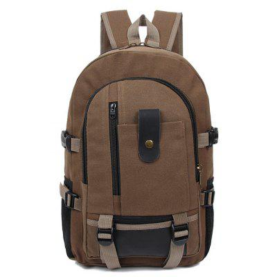 Men Trendy Outdoor Large Capacity Canvas Backpack -  SEPIA