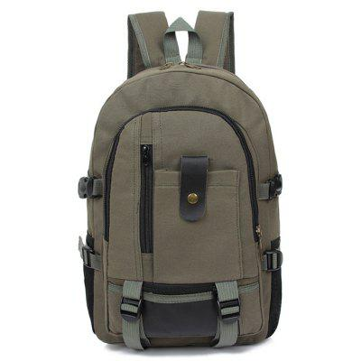 Men Trendy Outdoor Large Capacity Canvas Backpack - ARMY GREEN