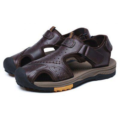 Male Casual Magical Tape SandalsMens Sandals<br>Male Casual Magical Tape Sandals<br><br>Contents: 1 x Pair of Shoes, 1 x Box<br>Function: Slip Resistant<br>Materials: Leather, TPR<br>Outsole Material: TPR<br>Package Size ( L x W x H ): 33.00 x 22.00 x 11.00 cm / 12.99 x 8.66 x 4.33 inches<br>Package weight: 0.7500 kg<br>Product weight: 0.6000 kg<br>Seasons: Summer<br>Type: Sandals<br>Upper Material: Leather