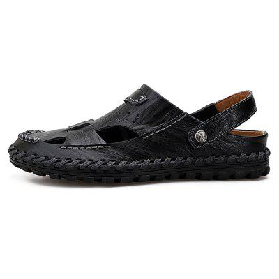 Men Handcrafted Dual-use Leather SandalsMens Sandals<br>Men Handcrafted Dual-use Leather Sandals<br><br>Contents: 1 x Pair of Shoes<br>Decoration: Hollow Out<br>Function: Slip Resistant<br>Materials: Leather, Rubber<br>Outsole Material: Rubber<br>Package Size ( L x W x H ): 32.00 x 21.00 x 13.00 cm / 12.6 x 8.27 x 5.12 inches<br>Package weight: 0.8300 kg<br>Product weight: 0.6800 kg<br>Seasons: Summer<br>Style: Comfortable, Casual<br>Toe Shape: Round Toe<br>Type: Sandals<br>Upper Material: Leather