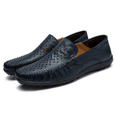 Male Breathable Casual Hollow-out Leather ShoesFlats &amp; Loafers<br>Male Breathable Casual Hollow-out Leather Shoes<br><br>Closure Type: Slip-On<br>Contents: 1 x Pair of Shoes, 1 x Box<br>Decoration: Hollow Out<br>Function: Slip Resistant<br>Materials: Rubber, Leather<br>Occasion: Casual, Daily, Shopping, Office<br>Outsole Material: Rubber<br>Package Size ( L x W x H ): 33.00 x 22.00 x 11.00 cm / 12.99 x 8.66 x 4.33 inches<br>Package weight: 0.7500 kg<br>Product weight: 0.6000 kg<br>Toe Shape: Round Toe<br>Type: Casual Leather Shoes<br>Upper Material: Leather