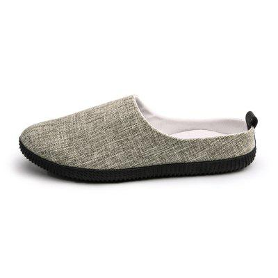 Male Breathable Slip-on Slipper Flat ShoesFlats &amp; Loafers<br>Male Breathable Slip-on Slipper Flat Shoes<br><br>Closure Type: Slip-On<br>Contents: 1 x Pair of Shoes, 1 x Box<br>Function: Slip Resistant<br>Materials: Linen, Rubber<br>Occasion: Casual, Daily, Shopping<br>Outsole Material: Rubber<br>Package Size ( L x W x H ): 30.00 x 20.00 x 10.00 cm / 11.81 x 7.87 x 3.94 inches<br>Package weight: 0.6000 kg<br>Product weight: 0.5000 kg<br>Toe Shape: Round Toe<br>Type: Flat Shoes<br>Upper Material: Linen