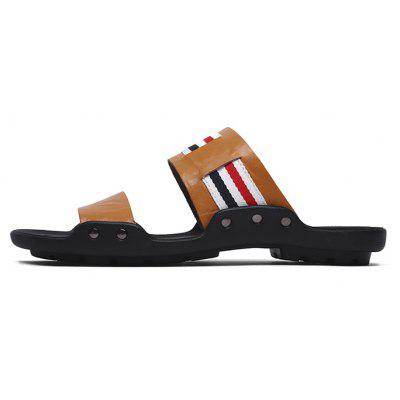 Men Fashion Street Anti-slip Stripe Leather SlippersMens Slippers<br>Men Fashion Street Anti-slip Stripe Leather Slippers<br><br>Contents: 1 x Pair of Shoes, 1 x Box<br>Function: Slip Resistant<br>Materials: Rubber, Leather<br>Occasion: Shopping, Daily, Casual, Beach, Holiday<br>Outsole Material: Rubber<br>Package Size ( L x W x H ): 30.00 x 20.00 x 10.00 cm / 11.81 x 7.87 x 3.94 inches<br>Package weight: 0.6500 kg<br>Pattern Type: Stripe<br>Product weight: 0.5000 kg<br>Seasons: Summer<br>Style: Fashion, Comfortable, Casual<br>Type: Slippers<br>Upper Material: Leather