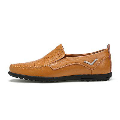 Breathable Hollow out Loafers for MenFlats &amp; Loafers<br>Breathable Hollow out Loafers for Men<br><br>Closure Type: Slip-On<br>Contents: 1 x Pair of Shoes, 1 x Box<br>Decoration: Hollow Out<br>Function: Slip Resistant<br>Materials: Rubber, Leather<br>Occasion: Casual, Daily<br>Outsole Material: Rubber<br>Package Size ( L x W x H ): 33.00 x 22.00 x 11.00 cm / 12.99 x 8.66 x 4.33 inches<br>Package weight: 0.7500 kg<br>Product weight: 0.6000 kg<br>Seasons: Autumn,Spring,Summer<br>Style: Fashion, Casual, Comfortable<br>Toe Shape: Round Toe<br>Type: Casual Leather Shoes<br>Upper Material: Leather