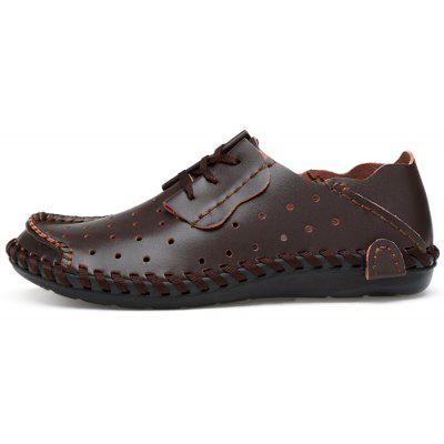 Breathable Lace-up Leather Casual Shoes for MenCasual Shoes<br>Breathable Lace-up Leather Casual Shoes for Men<br><br>Closure Type: Lace-Up<br>Contents: 1 x Pair of Shoes, 1 x Box<br>Decoration: Hollow Out<br>Function: Slip Resistant<br>Materials: Rubber, Leather<br>Occasion: Casual, Daily<br>Outsole Material: Rubber<br>Package Size ( L x W x H ): 33.00 x 22.00 x 11.00 cm / 12.99 x 8.66 x 4.33 inches<br>Package weight: 0.7500 kg<br>Product weight: 0.6000 kg<br>Seasons: Autumn,Spring,Summer<br>Style: Fashion, Comfortable, Casual, Business<br>Toe Shape: Round Toe<br>Type: Casual Leather Shoes<br>Upper Material: Leather