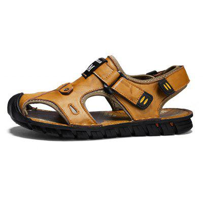 Men Stylish Anti-slip Hollow-out Leather SandalsMens Sandals<br>Men Stylish Anti-slip Hollow-out Leather Sandals<br><br>Closure Type: Hook / Loop<br>Contents: 1 x Pair of Shoes, 1 x Box<br>Function: Slip Resistant<br>Materials: Leather, Rubber<br>Occasion: Beach, Shopping, Holiday, Daily, Casual<br>Outsole Material: Rubber<br>Package Size ( L x W x H ): 31.00 x 21.00 x 12.00 cm / 12.2 x 8.27 x 4.72 inches<br>Package weight: 0.8000 kg<br>Product weight: 0.7000 kg<br>Seasons: Summer<br>Style: Fashion, Comfortable, Casual<br>Type: Sandals<br>Upper Material: Leather