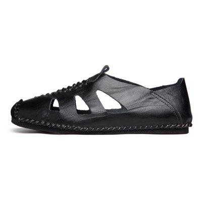 Men Leisure Hollow-out Handcrafted Leather Flat ShoesFlats &amp; Loafers<br>Men Leisure Hollow-out Handcrafted Leather Flat Shoes<br><br>Closure Type: Slip-On<br>Contents: 1 x Pair of Shoes, 1 x Box<br>Decoration: Hollow Out<br>Function: Slip Resistant<br>Materials: Leather, Oxford Fabric<br>Occasion: Beach, Shopping, Holiday, Daily, Casual<br>Package Size ( L x W x H ): 31.00 x 21.00 x 12.00 cm / 12.2 x 8.27 x 4.72 inches<br>Package weight: 0.8000 kg<br>Product weight: 0.7000 kg<br>Seasons: Spring,Summer<br>Style: Formal, Fashion, Comfortable<br>Toe Shape: Round Toe<br>Type: Casual Leather Shoes<br>Upper Material: Leather