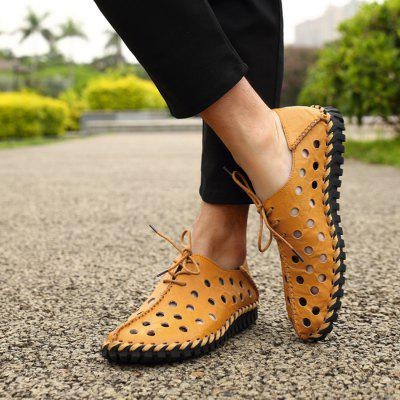 Male Chic Lace-up Hollow-out Leather Sandals chic halter butterfly pattern hollow out