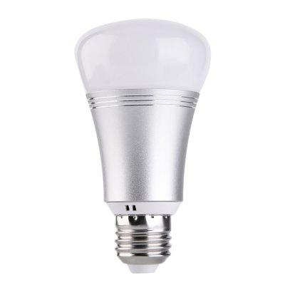 Mobile Phone WiFi Control Intelligent LED BulbSmart Lighting<br>Mobile Phone WiFi Control Intelligent LED Bulb<br><br>Available Light Color: RGBW<br>Color Temperature or Wavelength: White: 6500k, red: 620 - 625nm, blue: 460 - 465nm, green: 520 - 525nm<br>Features: APP Control, Easy to use, Energy Saving, WiFi<br>Function: Home Lighting<br>Holder: E27<br>Output Power: 7W<br>Package Contents: 1 x Smart Bulb, 1 x English Manual, 1 x Package Box<br>Package size (L x W x H): 7.00 x 7.00 x 12.00 cm / 2.76 x 2.76 x 4.72 inches<br>Package weight: 0.1195 kg<br>Product size (L x W x H): 2.00 x 6.00 x 11.00 cm / 0.79 x 2.36 x 4.33 inches<br>Product weight: 0.0995 kg<br>Sheathing Material: Aluminum, PC<br>Voltage (V): AC 85-265