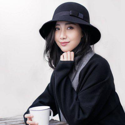 Xiaomi British Style Bow Wool Felt Hat vintage wool felt bucket hat with bowknot decor