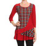 cheap Plus Size Plaid Trim Overlay T-Shirt