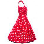 Vintage Polka Dot Square Neck Fit and Flare Dress - RED