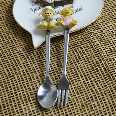 Bear Decorated Fork Spoon Set