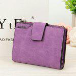 Baellerry Multifunction Frosted PU Leather Card Holder Short Clutch Wallet for Women - PURPLE