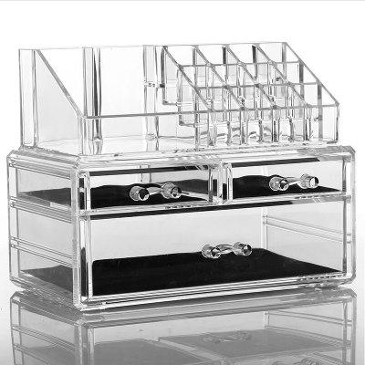 3 Drawers Acrylic Makeup Organizer Transparent Multipurpose Cosmetic Jewelry Display Box
