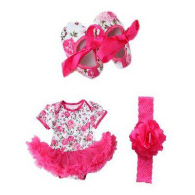 Cute Rose Flower Newborn Baby Girls Romper Tutu Dress Jumpsuit Outfits Clothes with Shoes Headband