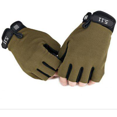 Gearbest Pair of Male Half-finger Adjustable Breathable Sports Gloves  -  M  ARMY GREEN