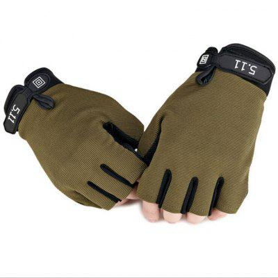 Pair of Male Half-finger Adjustable Breathable Sports Gloves - M ARMY GREEN