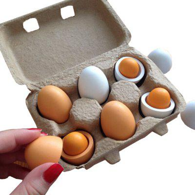 6 in 1 Wooden Imitating Eggs Pretend Play Children Toy