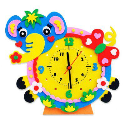 Handmade DIY 3D Animal Learning Clock Kids Educational Toy