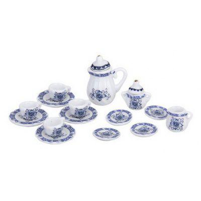 15PCS British Style 1/12 Miniature Porcelain Tea Dinnerware