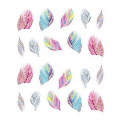 Nail Art Feather Pattern Rainbow Self-adhesive Decal Stickers