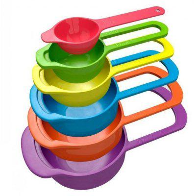 6PCS Rainbow Salad Mixing Bowls Measuring Cup
