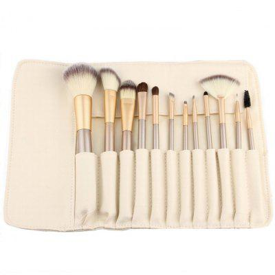 12PCS Fanned Foundation Makeup Tool Loose Powder Contour Blush Brush with Storage Bag