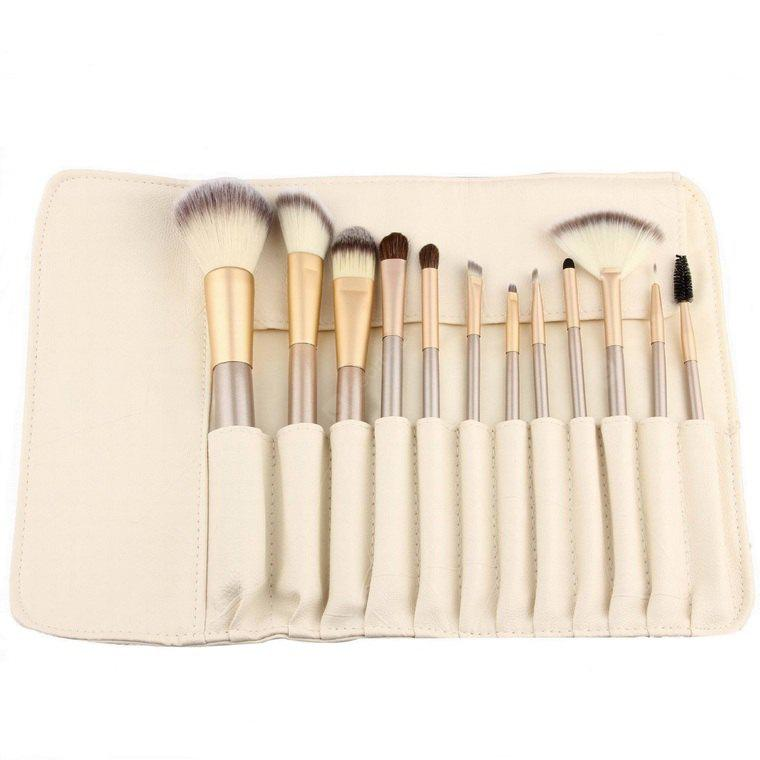 12PCS Fanned Foundation Cosmetic Brush with Storage Bag