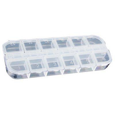False Nail Art Tips Storage Box Case with 12 Compartments