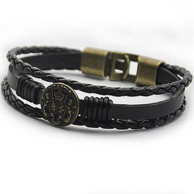 Round Badge Braided Faux Leather Bracelet