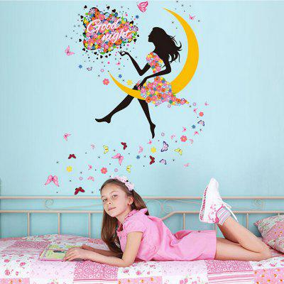 moon girl wall sticker wallpaper -$6.43 online shopping| gearbest