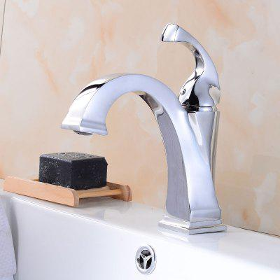 Buy WHITE Contemporary Single Handle Chrome Bathroom Sink Faucet for $74.88 in GearBest store