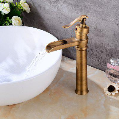 Buy BROWN Retro Single Handle Brass Bathroom Sink Faucet for $64.14 in GearBest store