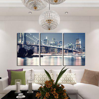 3pcs  Night Bridge Printing Canvas Wall Decoration