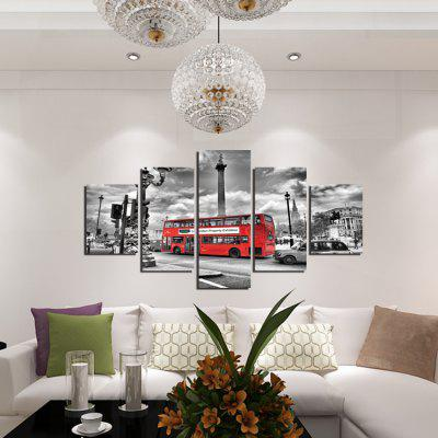 5pcs Red Bus Printing Canvas Wall Decoration