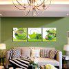 3pcs Green Cups Printing Canvas Wall Decoration - MULTI