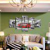5pcs Red Bus Printing Canvas Wall Decoration - MULTI