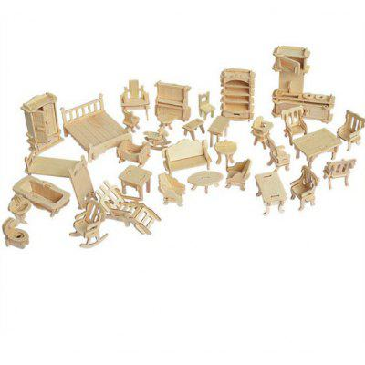 Wooden Small Furniture Creative Gifts Simulation Model 34pcs